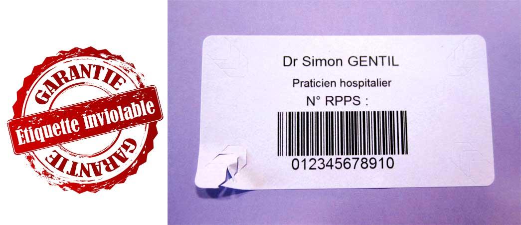Etiquettes inviolables RPPS