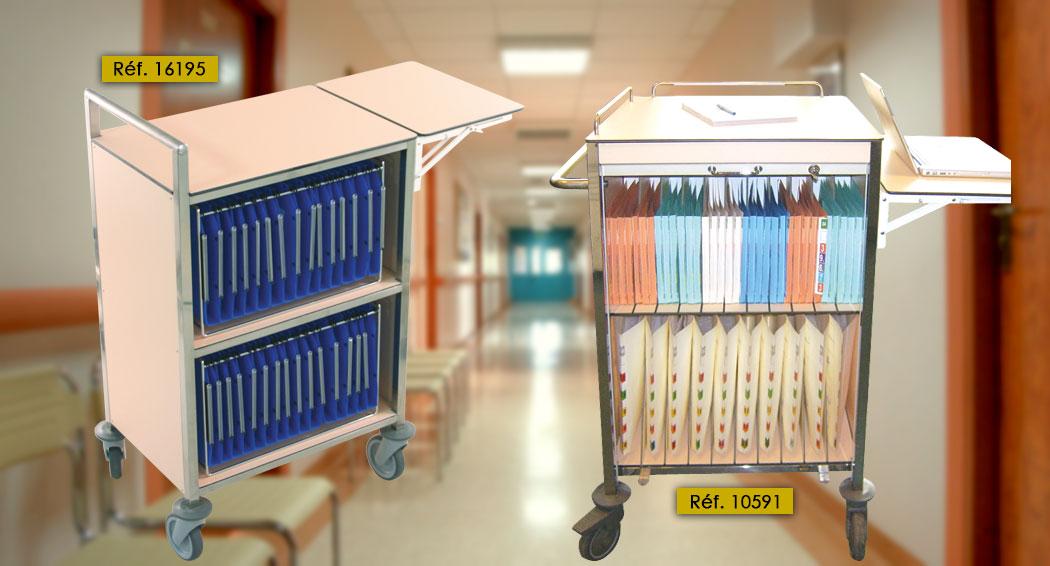 Chariots infirmiers pour le classement des dossiers patients